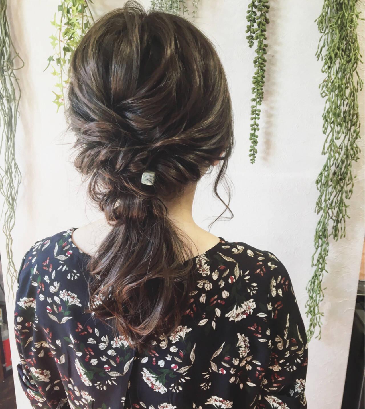 フェミニン セミロングヘアスタイルや髪型の写真・画像