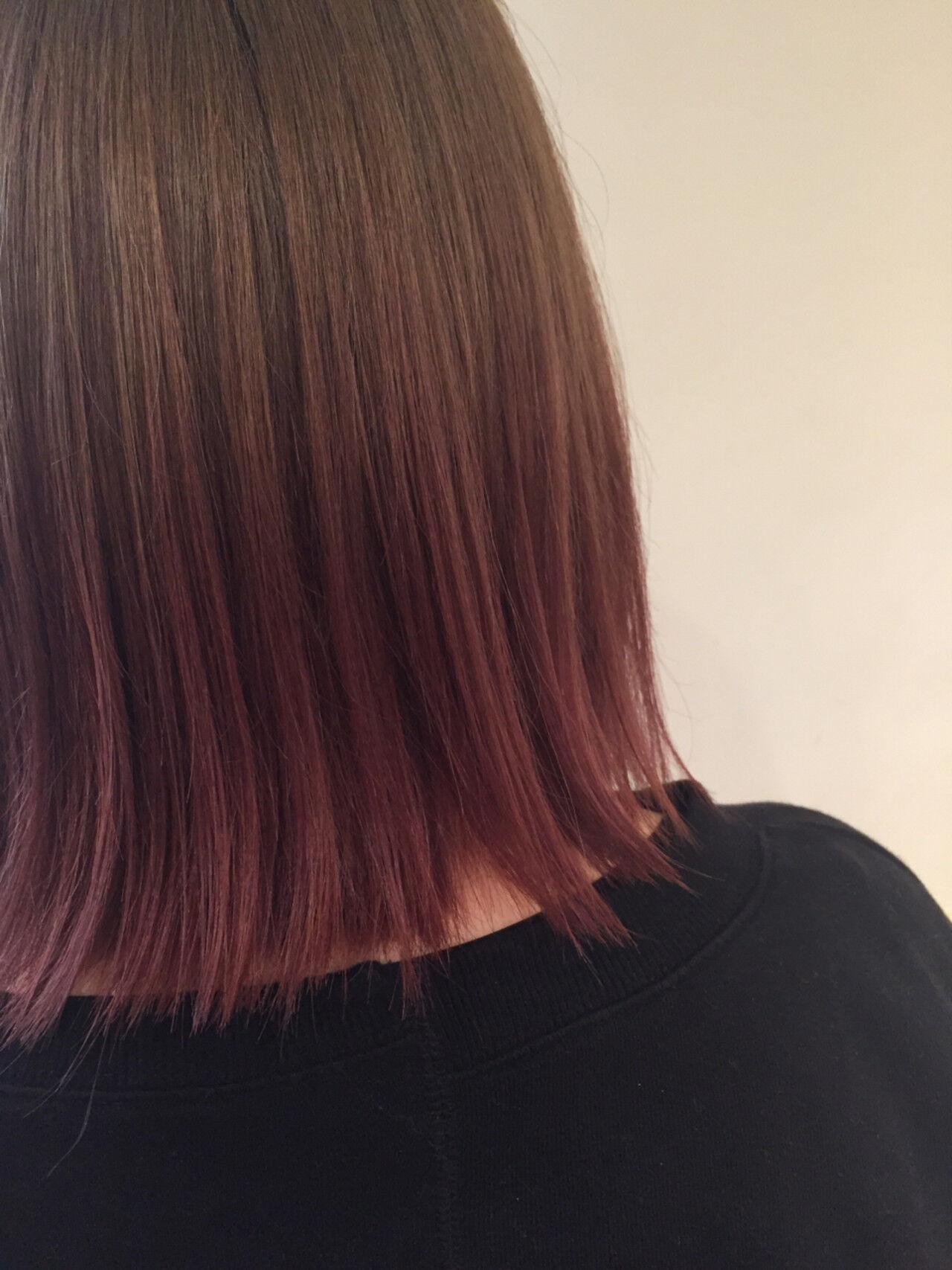 ピンク ガーリー 切りっぱなし ボブヘアスタイルや髪型の写真・画像
