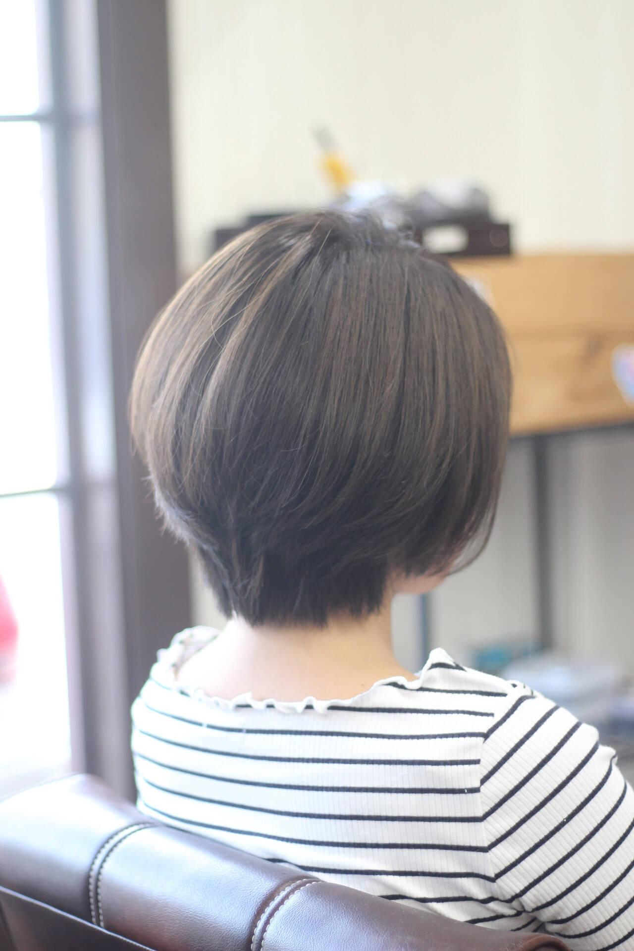 お手入れ簡単!! ナチュラル ショート ショートボブヘアスタイルや髪型の写真・画像