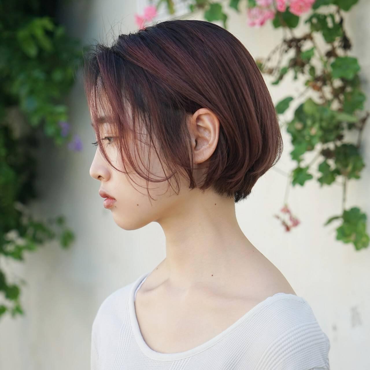 前髪あり ショート 小顔 ラフヘアスタイルや髪型の写真・画像