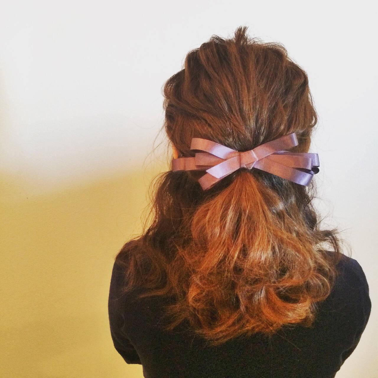 ゆるふわ ハーフアップ 結婚式 セミロングヘアスタイルや髪型の写真・画像