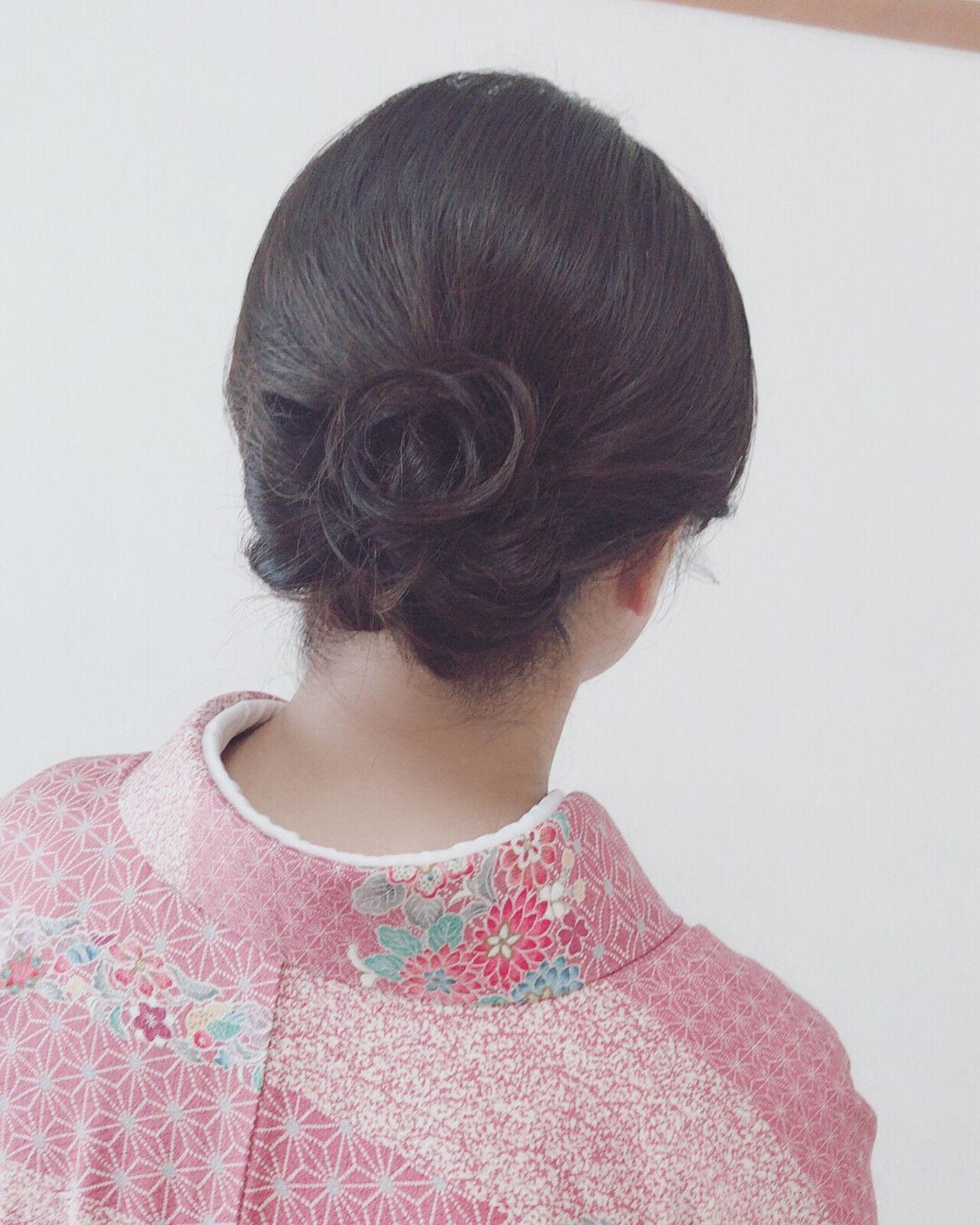 アップスタイル エレガント 着物 セミロングヘアスタイルや髪型の写真・画像
