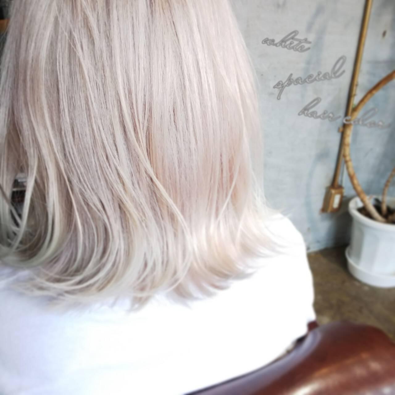 モード ホワイトアッシュ 個性的 ボブヘアスタイルや髪型の写真・画像