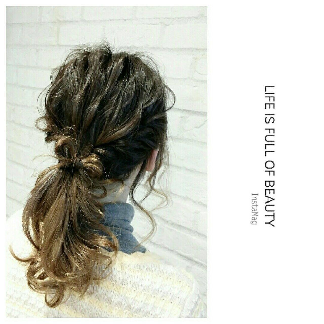 ヘアアレンジ ゆるふわ グラデーションカラー ナチュラルヘアスタイルや髪型の写真・画像