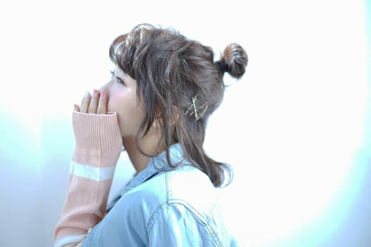 ヘアアレンジ お団子 ボブ ハーフアップヘアスタイルや髪型の写真・画像