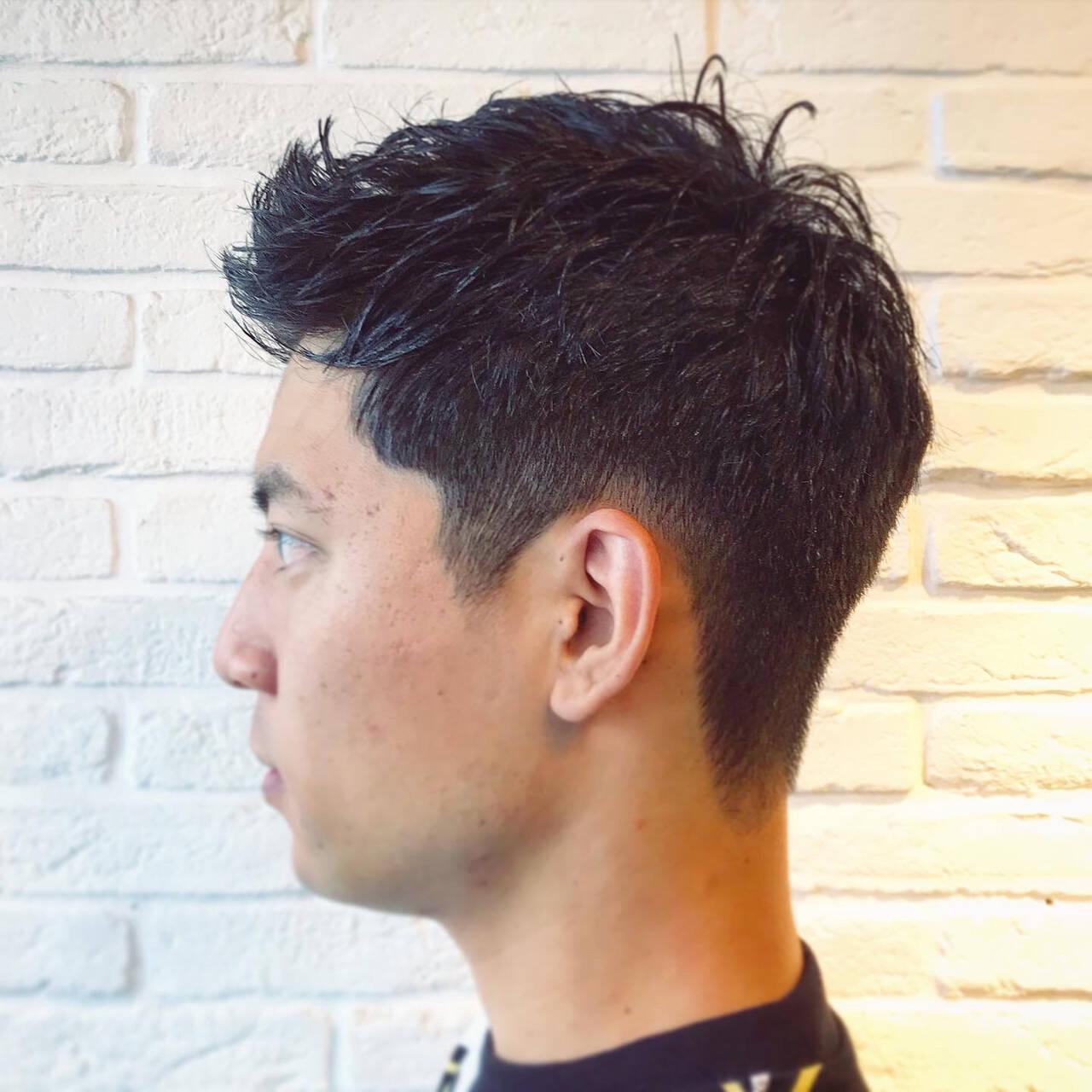 ショート メンズパーマ メンズカット ツーブロックヘアスタイルや髪型の写真・画像