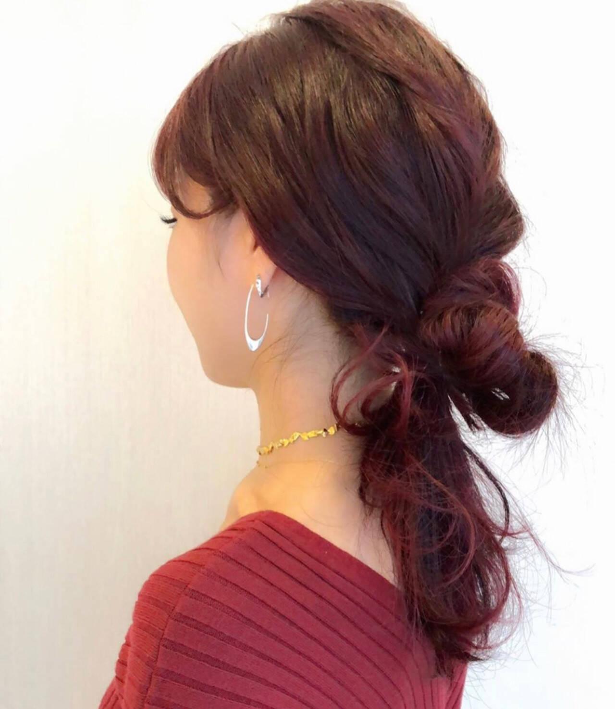 デート オフィス ヘアアレンジ ナチュラルヘアスタイルや髪型の写真・画像