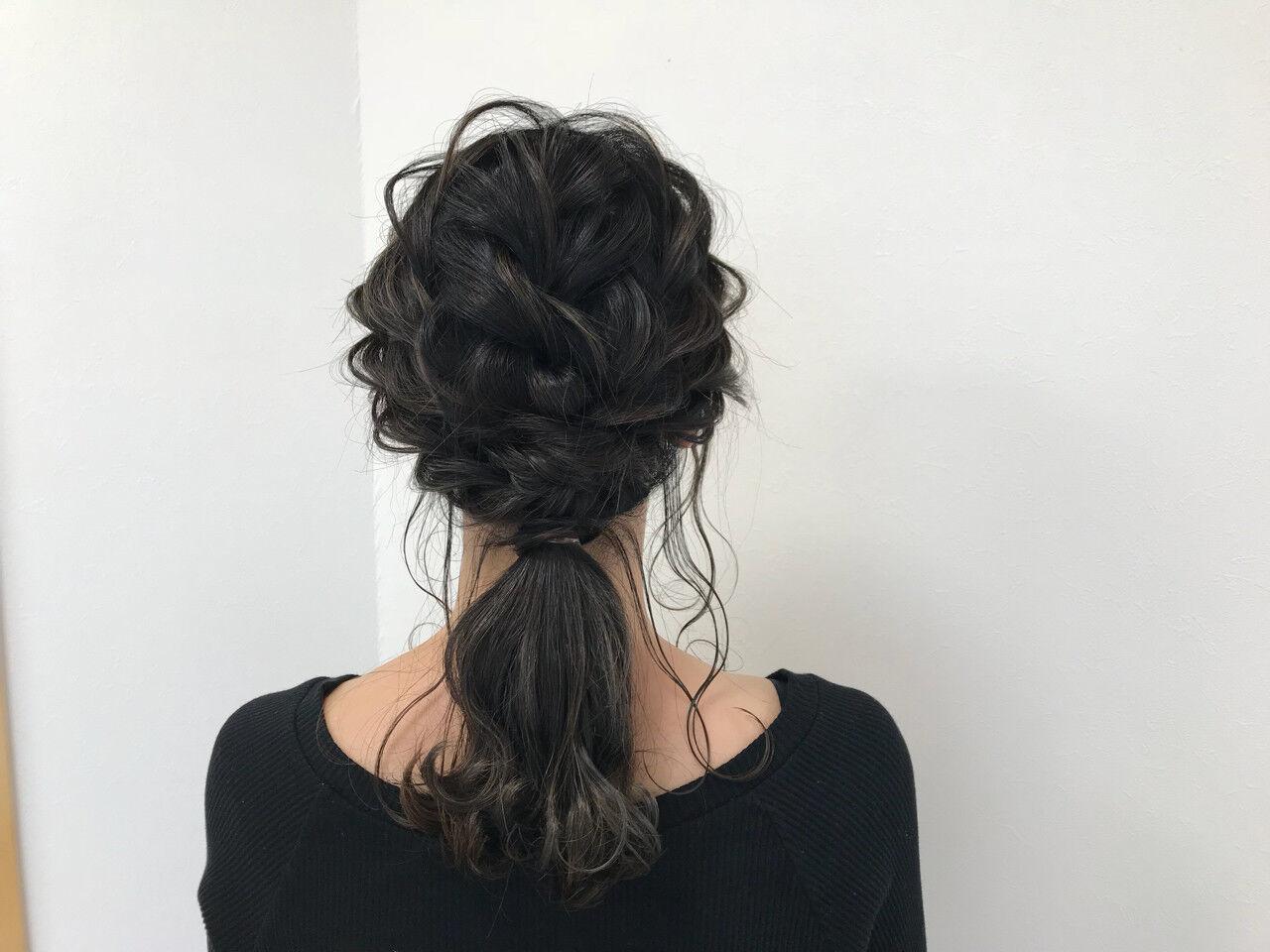 編み込み 結婚式 ナチュラル ロングヘアスタイルや髪型の写真・画像