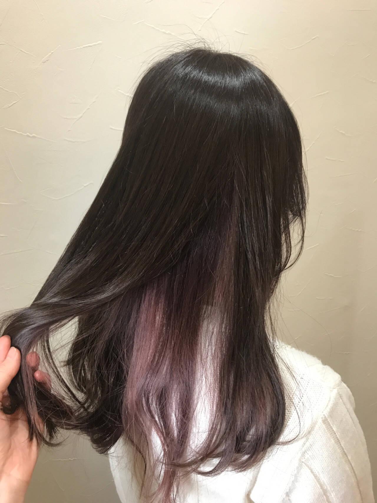 ロング パープル ストリート ラベンダーアッシュヘアスタイルや髪型の写真・画像