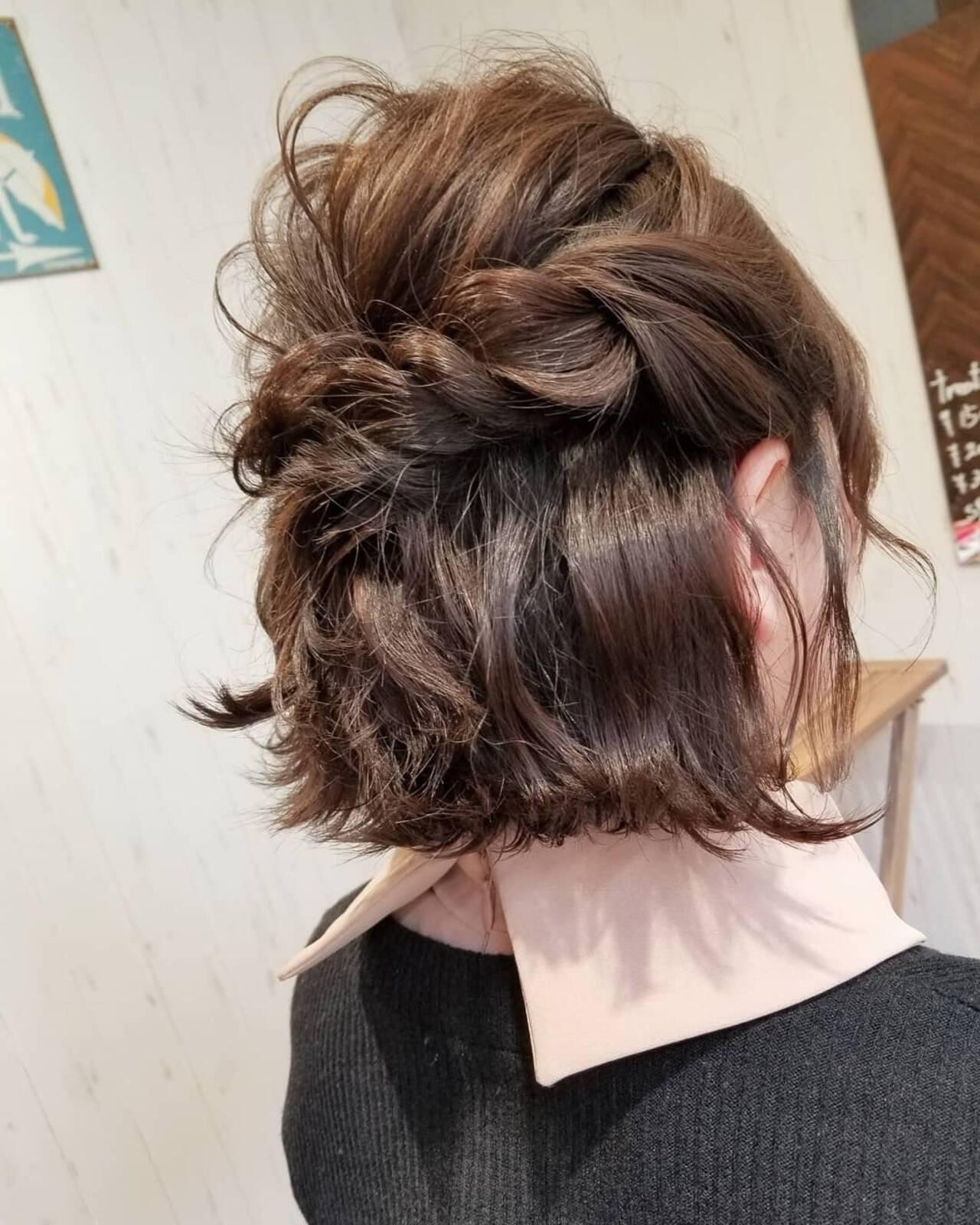 ヘアアレンジ フェミニン ボブ 外ハネヘアスタイルや髪型の写真・画像