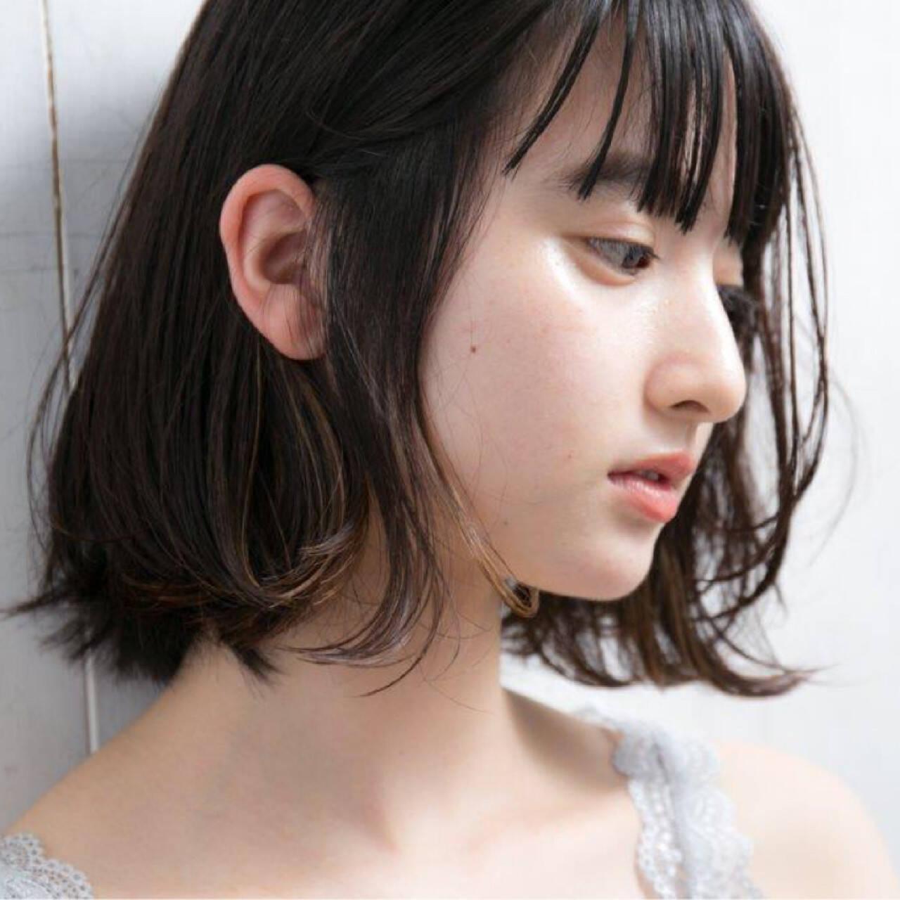 パーマ ストレート 縮毛矯正 インナーカラーヘアスタイルや髪型の写真・画像