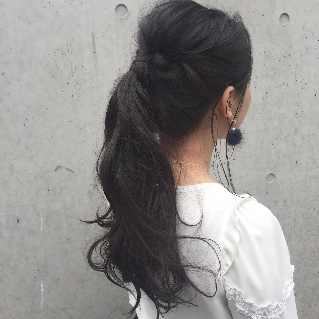 簡単ヘアアレンジ ヘアアレンジ ポニーテール アッシュヘアスタイルや髪型の写真・画像
