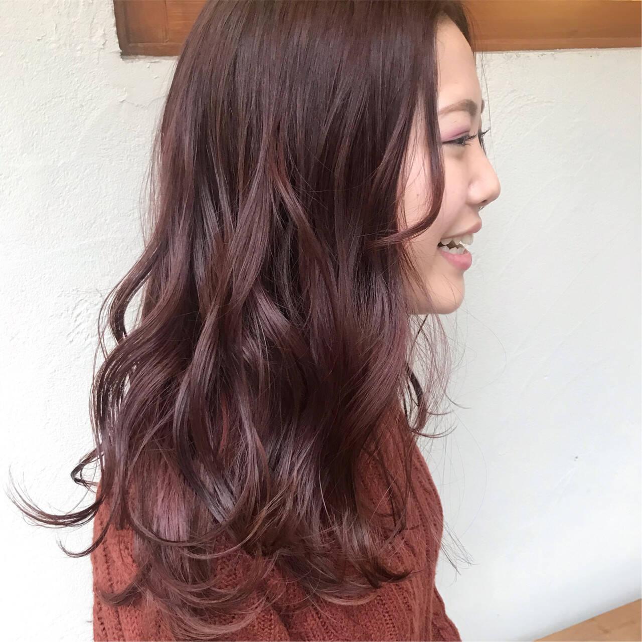 ピンクブラウン ベリーピンク ナチュラル ピンクヘアスタイルや髪型の写真・画像