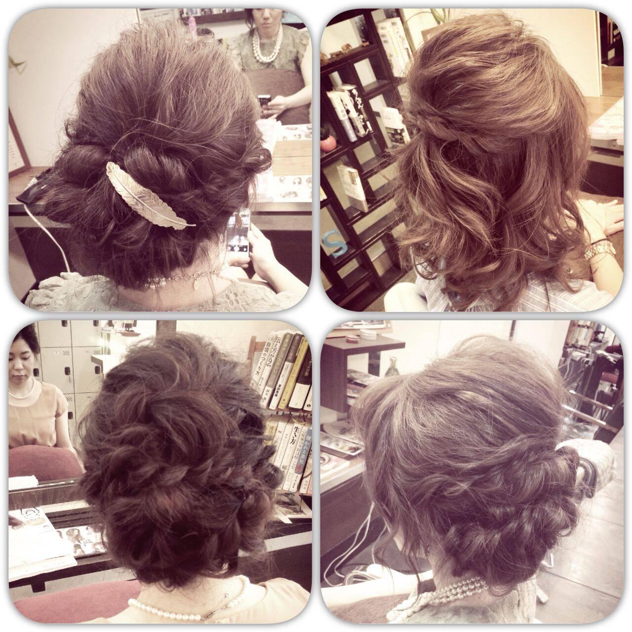 編み込み ボブ コンサバ フェミニンヘアスタイルや髪型の写真・画像