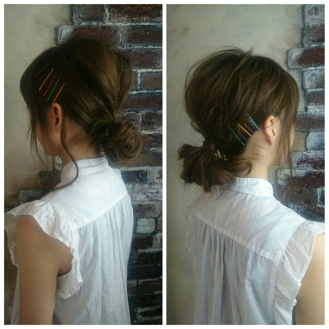 簡単ヘアアレンジ ハーフアップ ミディアム ショートヘアスタイルや髪型の写真・画像