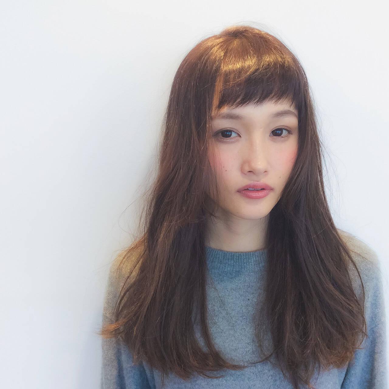 ベビーバング 無造作 ロング ショートバングヘアスタイルや髪型の写真・画像
