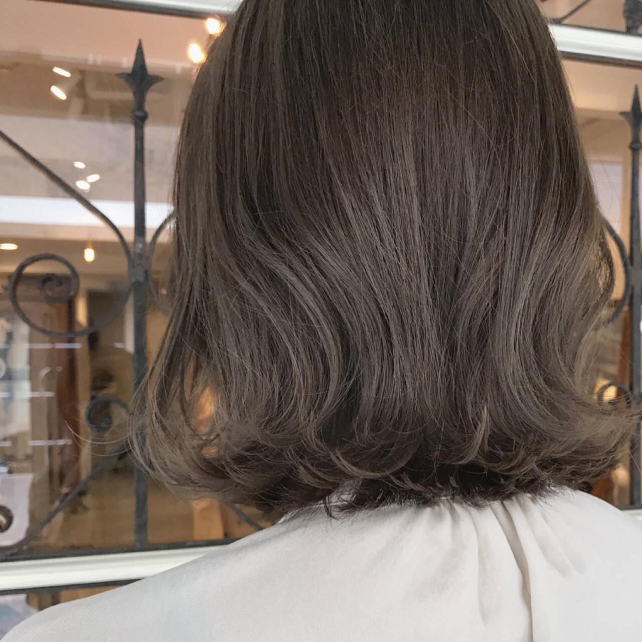 ミディアム 女子力 ナチュラル ウェットヘアヘアスタイルや髪型の写真・画像