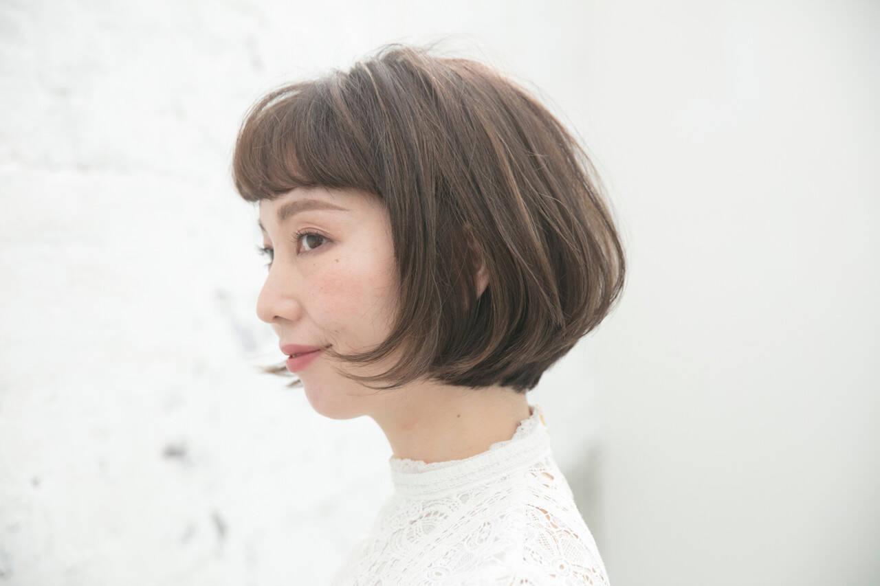 フェミニン ショートヘア ツヤ髪 ボブヘアーヘアスタイルや髪型の写真・画像