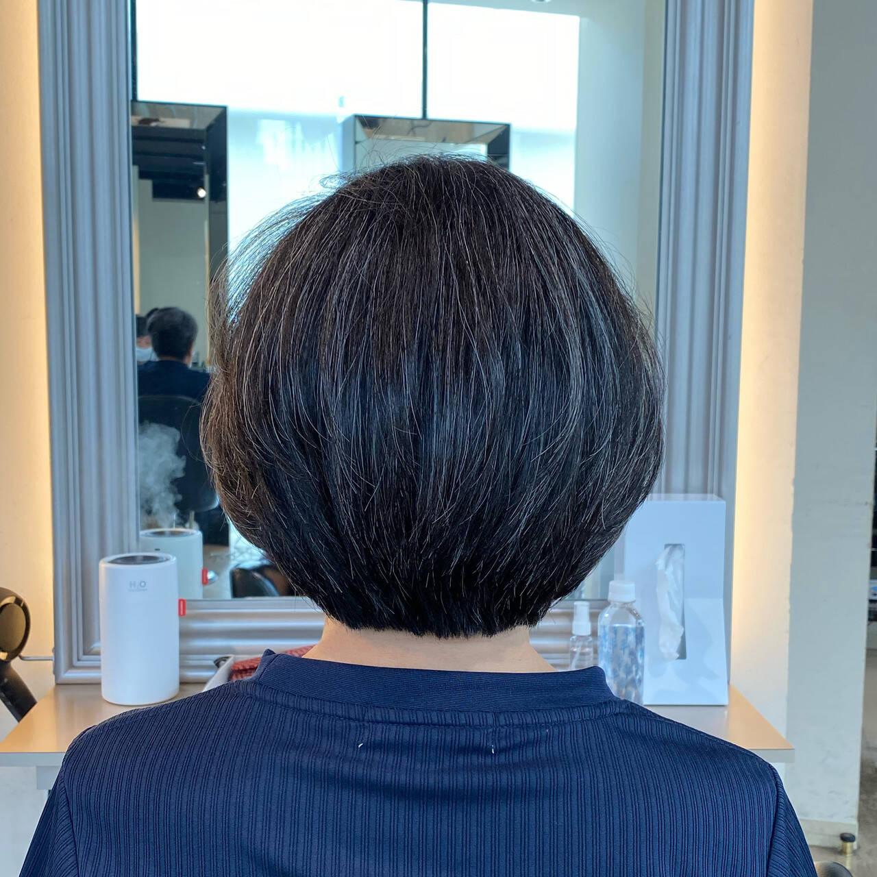 似合わせカット 内巻き ナチュラル ボブヘアスタイルや髪型の写真・画像