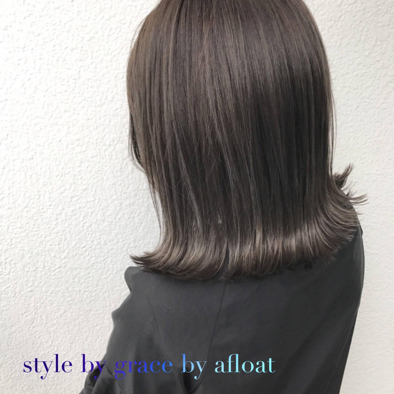 ブラウン 外国人風カラー アッシュグレージュ ボブヘアスタイルや髪型の写真・画像