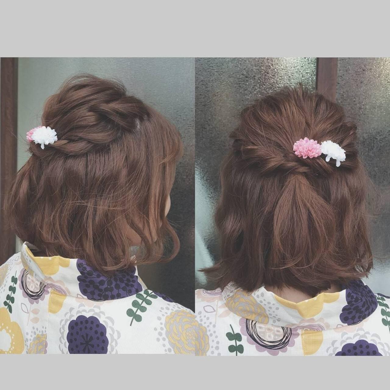 ボブ ショート デート 簡単ヘアアレンジヘアスタイルや髪型の写真・画像