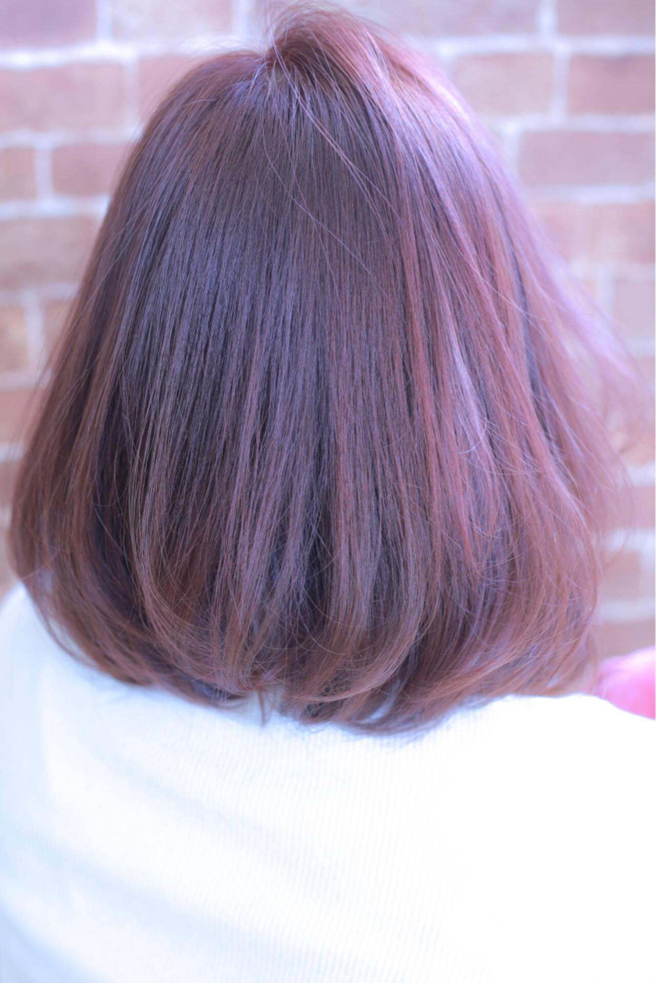 ニュアンス ピンク 色気 ボブヘアスタイルや髪型の写真・画像