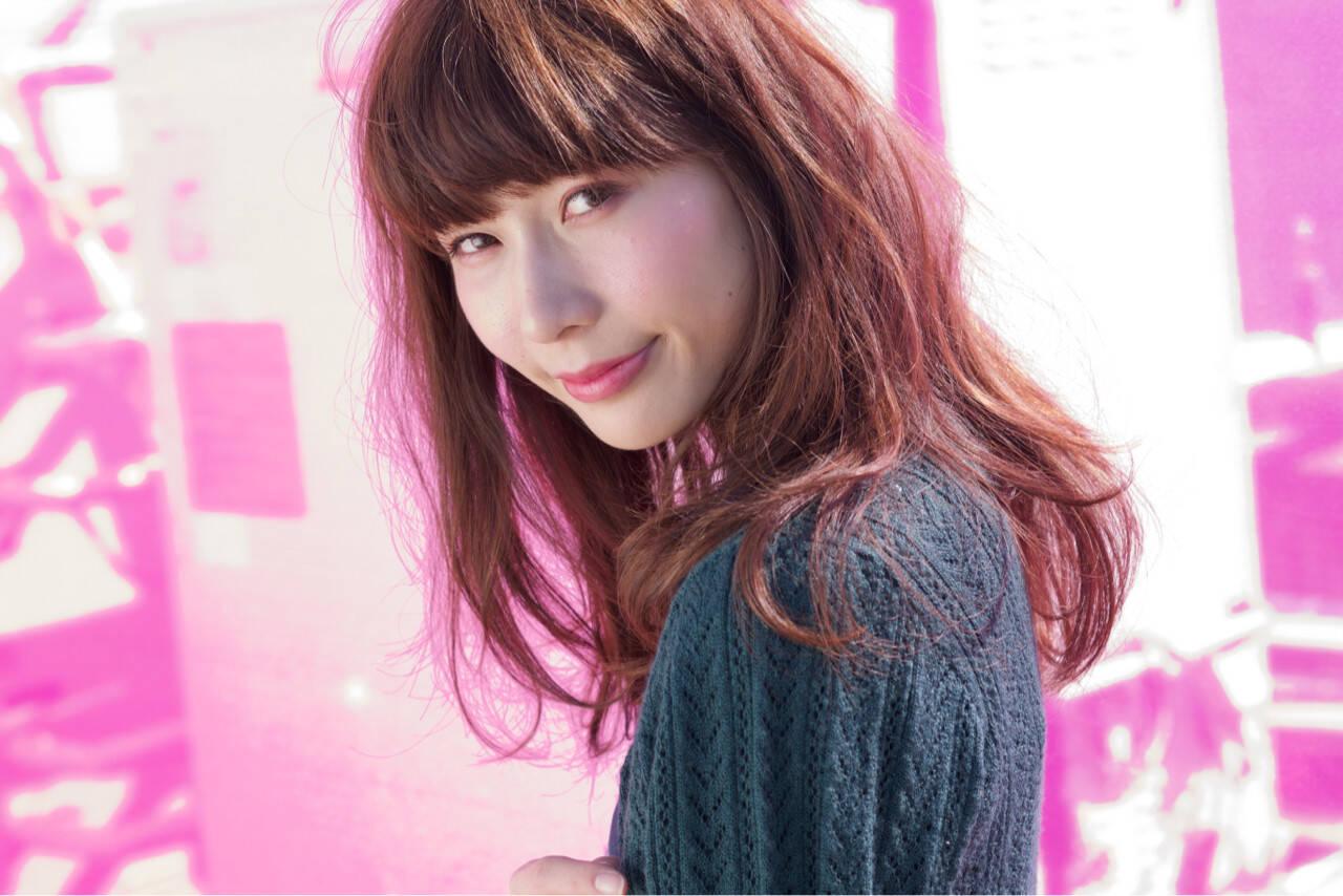 女子力 ピンク ストリート ヘアアレンジヘアスタイルや髪型の写真・画像