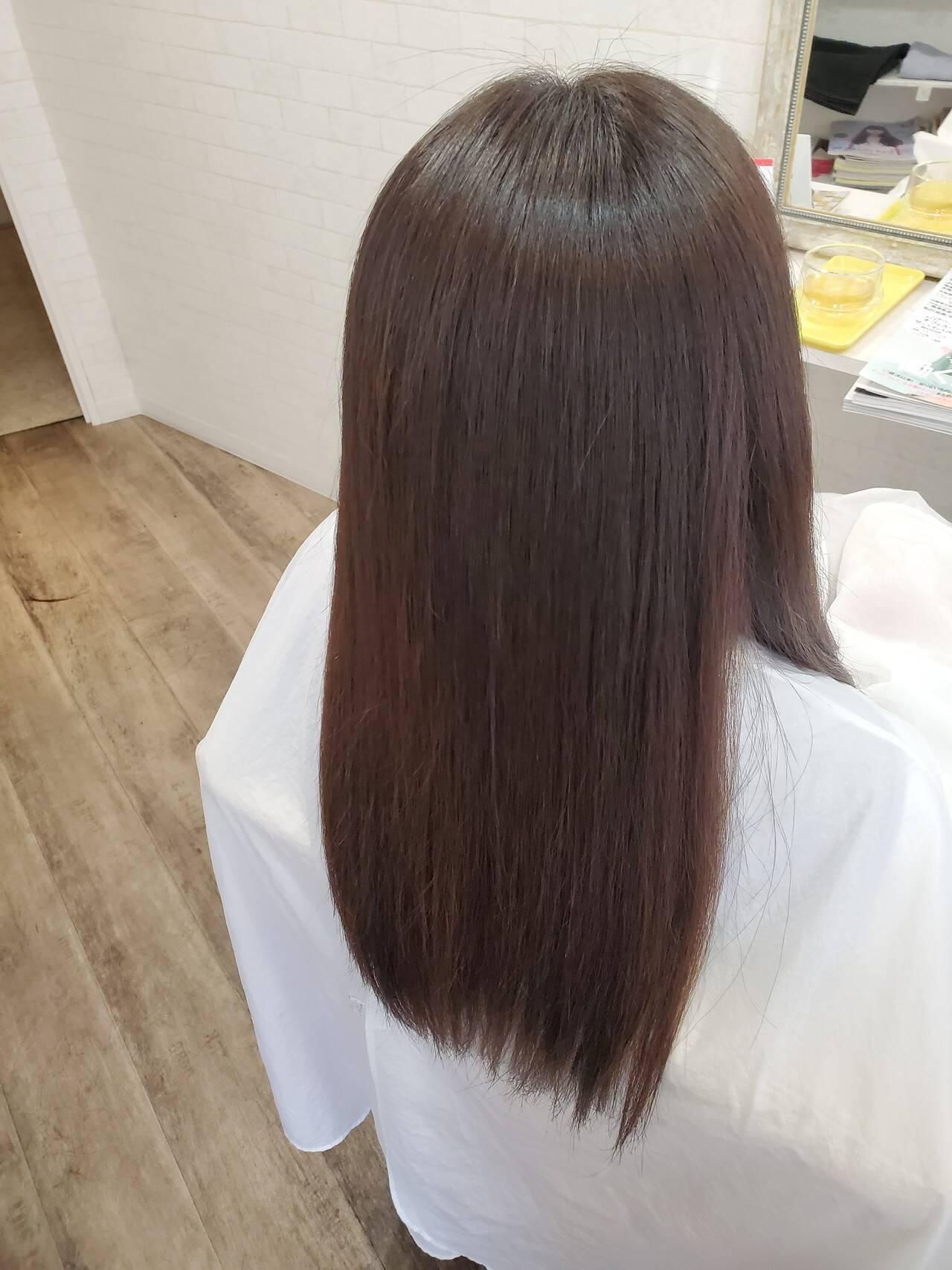 ロング 縮毛矯正ストカール ストカール 縮毛矯正ヘアスタイルや髪型の写真・画像