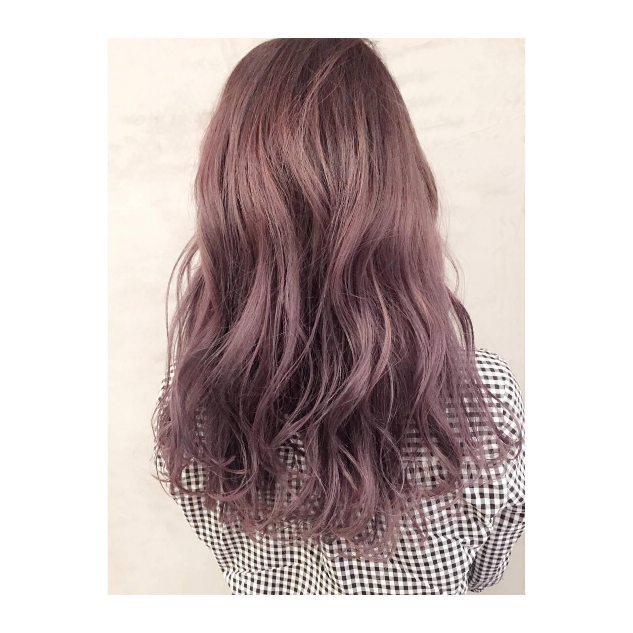ラベンダーアッシュ ガーリー ロング ラベンダーヘアスタイルや髪型の写真・画像