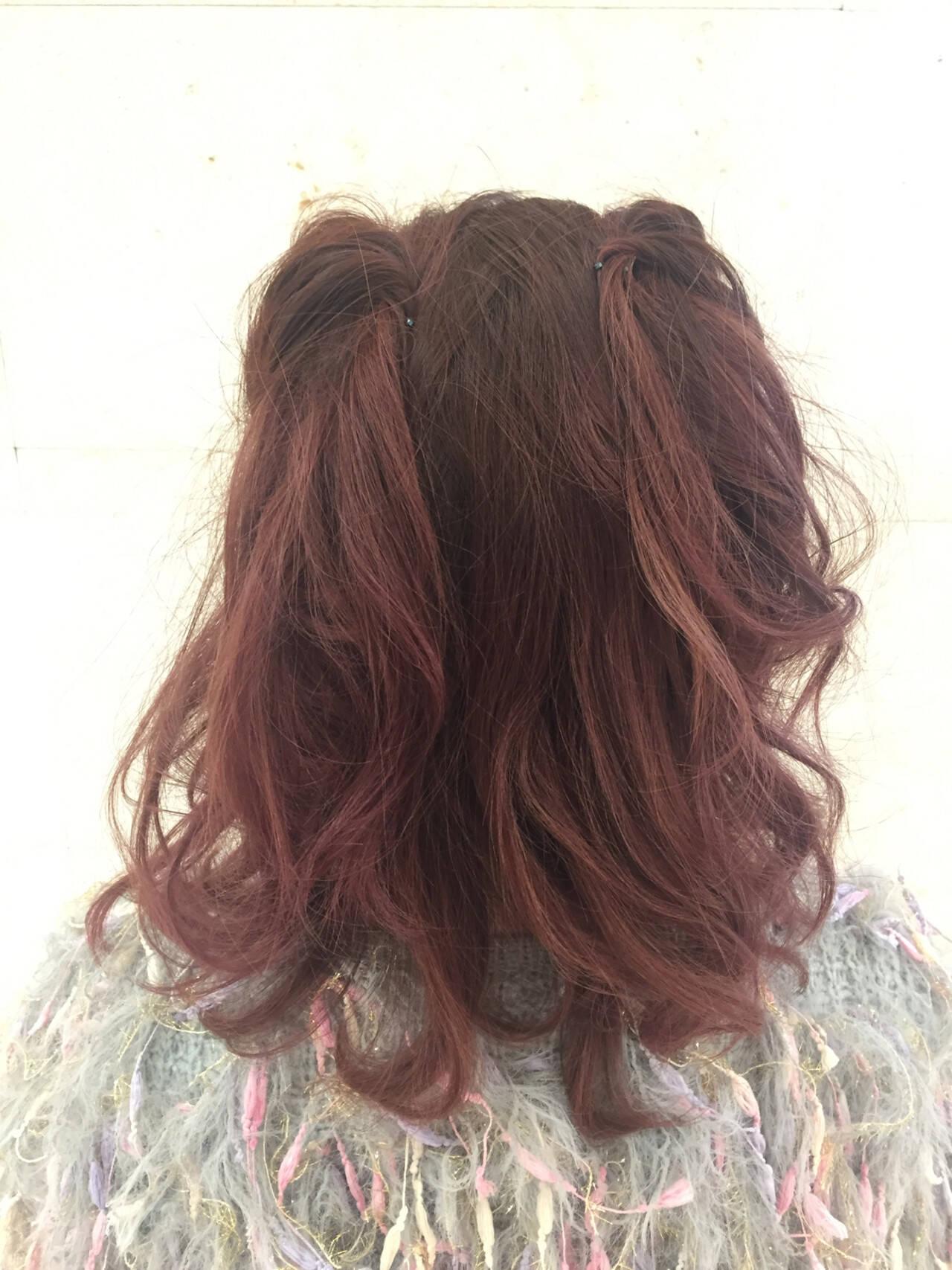 ヘアアレンジ フェミニン ハイライト モテ髪ヘアスタイルや髪型の写真・画像