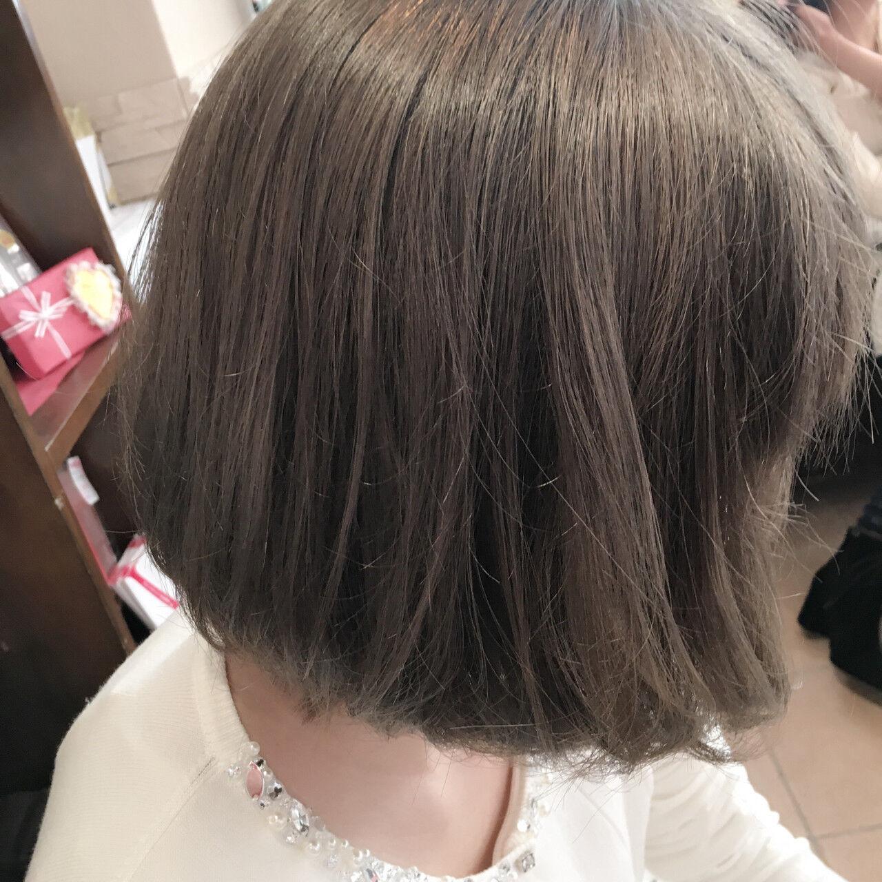アッシュ 外国人風カラー ボブ アッシュグレーヘアスタイルや髪型の写真・画像