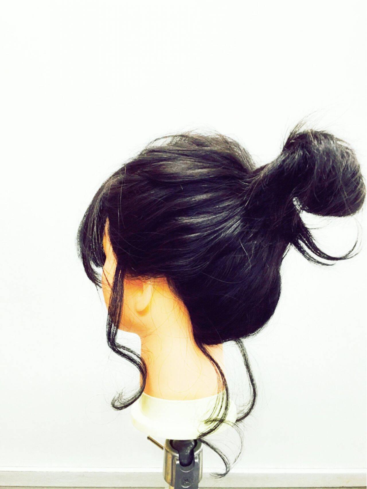 ショート 簡単ヘアアレンジ コンサバ セミロングヘアスタイルや髪型の写真・画像