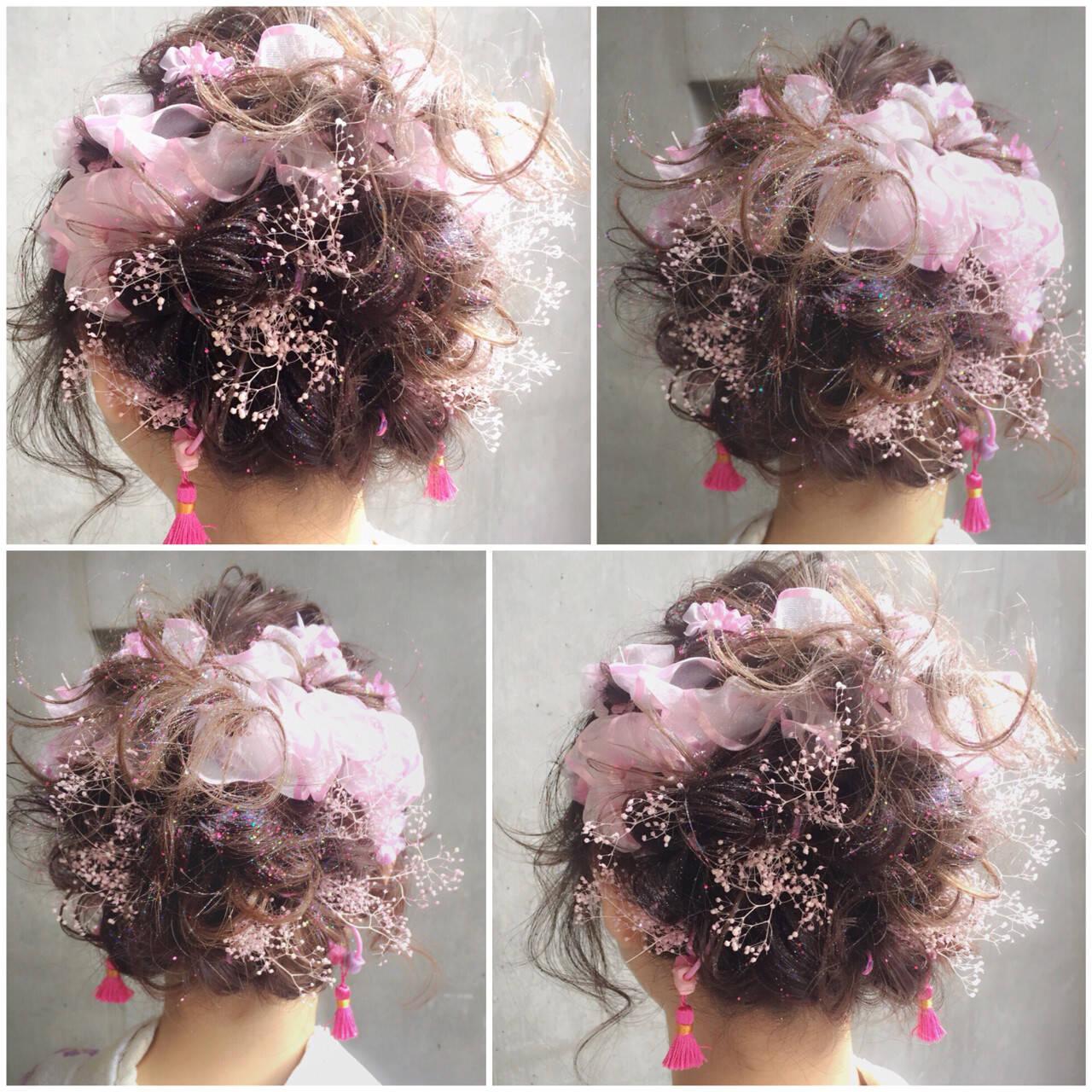 ゆるふわ ミディアム ヘアアレンジ フェミニンヘアスタイルや髪型の写真・画像