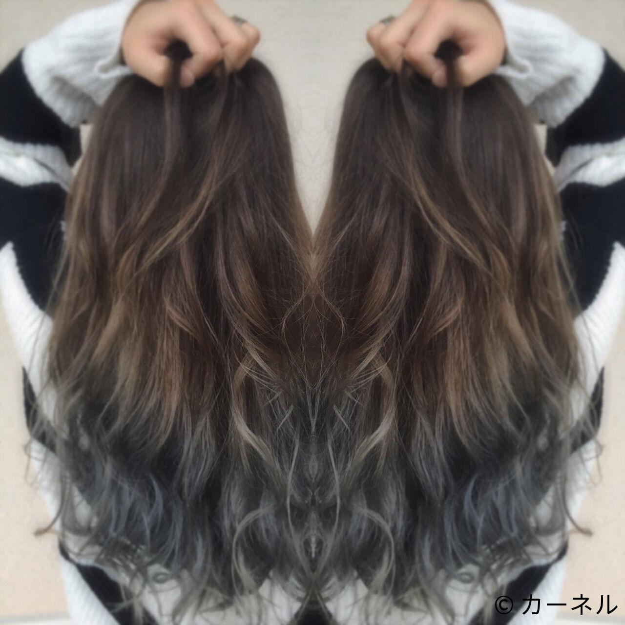 ストリート グレージュ ロング 暗髪ヘアスタイルや髪型の写真・画像