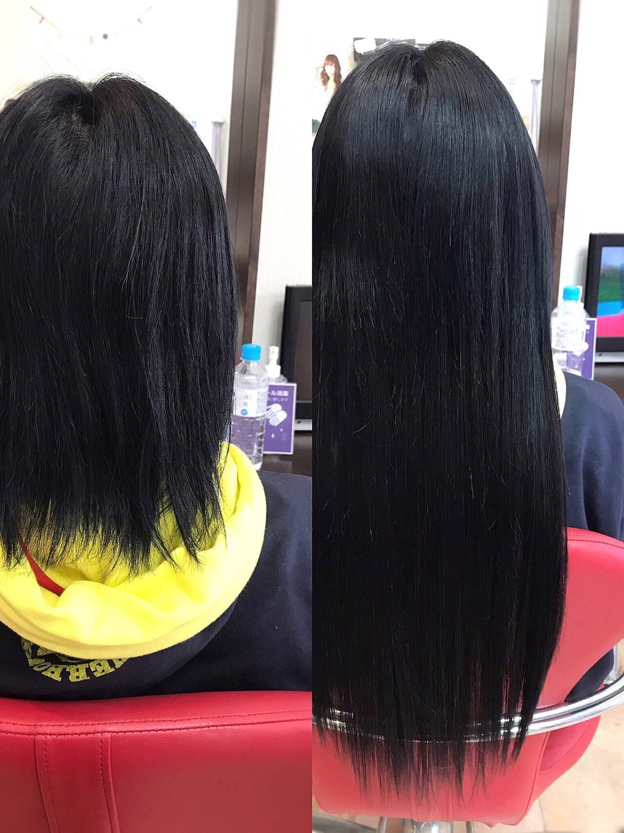 ストレート エクステ ロング ショートヘアヘアスタイルや髪型の写真・画像