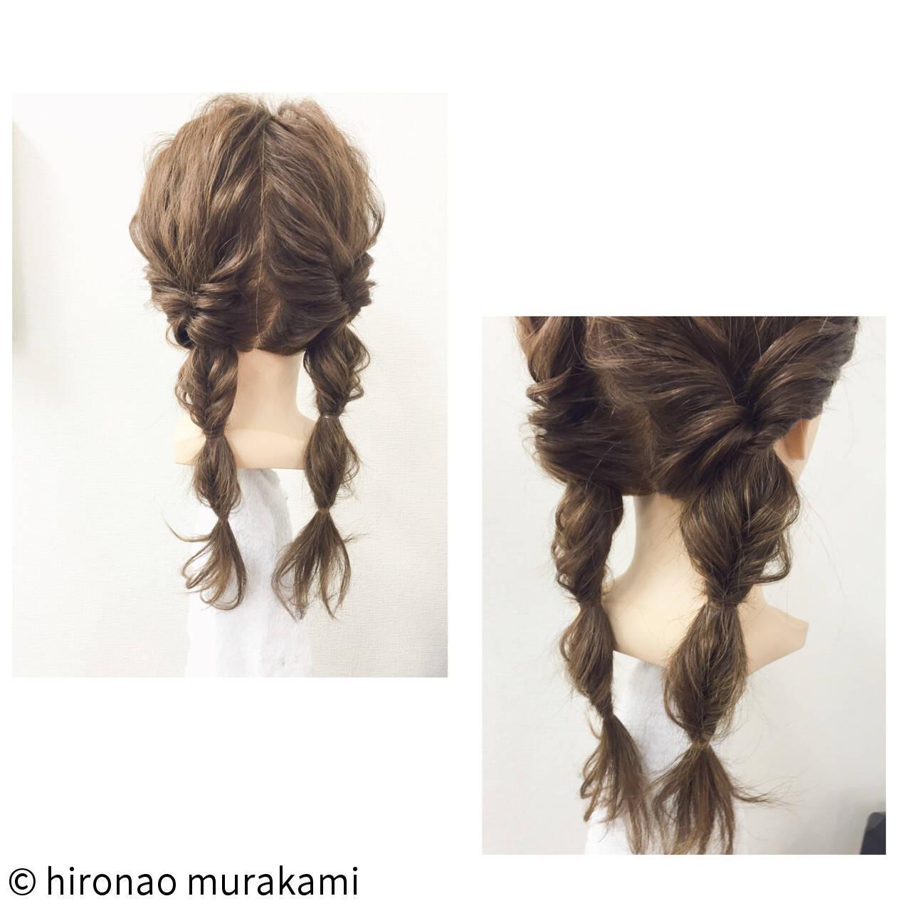 ロング ショート フェミニン 簡単ヘアアレンジヘアスタイルや髪型の写真・画像