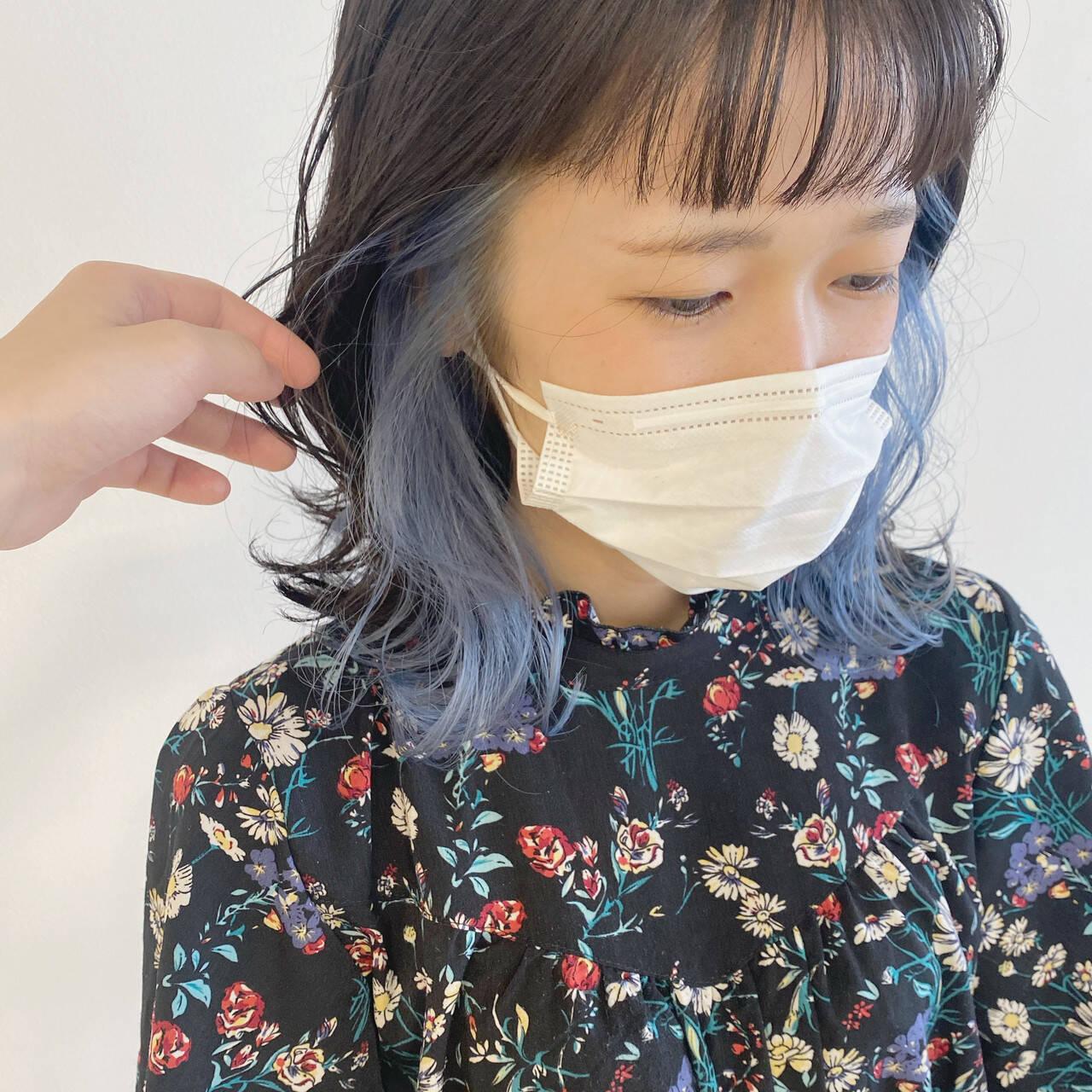 パステルカラー インナーカラー 透明感カラー ブルーヘアスタイルや髪型の写真・画像
