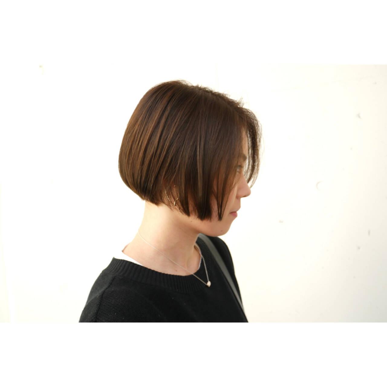ボブ ナチュラル ミニボブ ショートヘアヘアスタイルや髪型の写真・画像