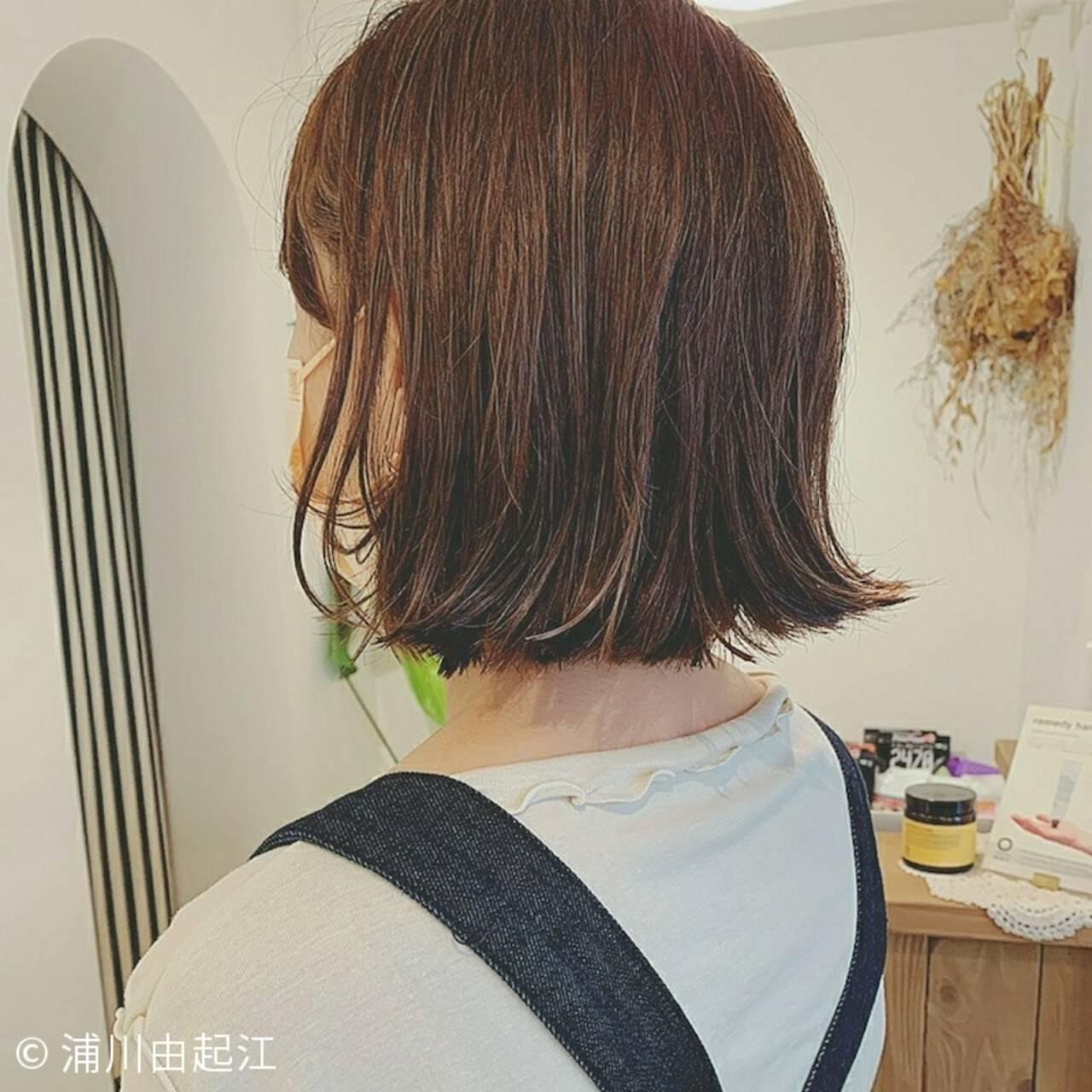 ハイライト 切りっぱなしボブ アンニュイほつれヘア ボブヘアスタイルや髪型の写真・画像