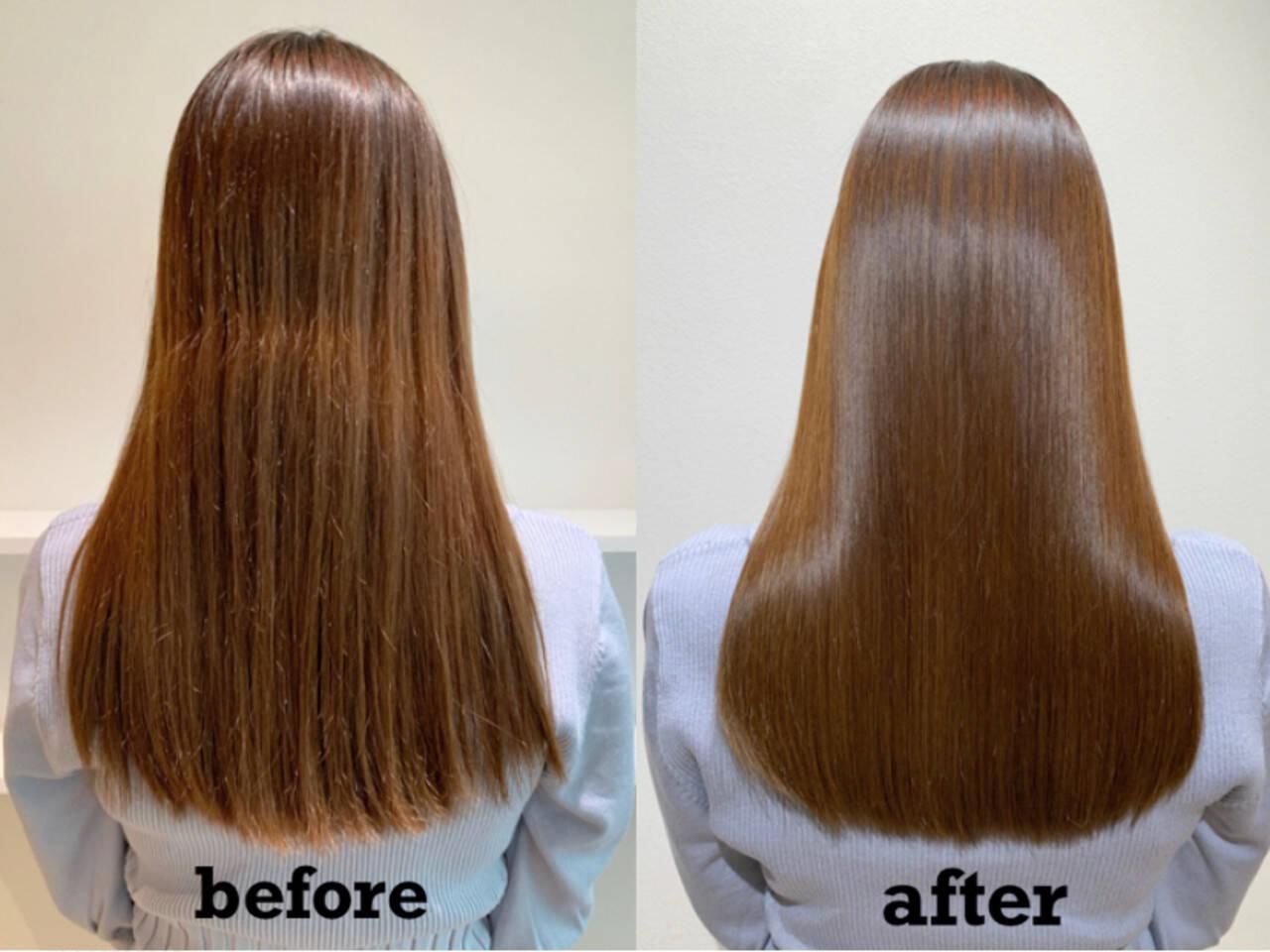 ヌーディーベージュ サイエンスアクア ロング イルミナカラーヘアスタイルや髪型の写真・画像