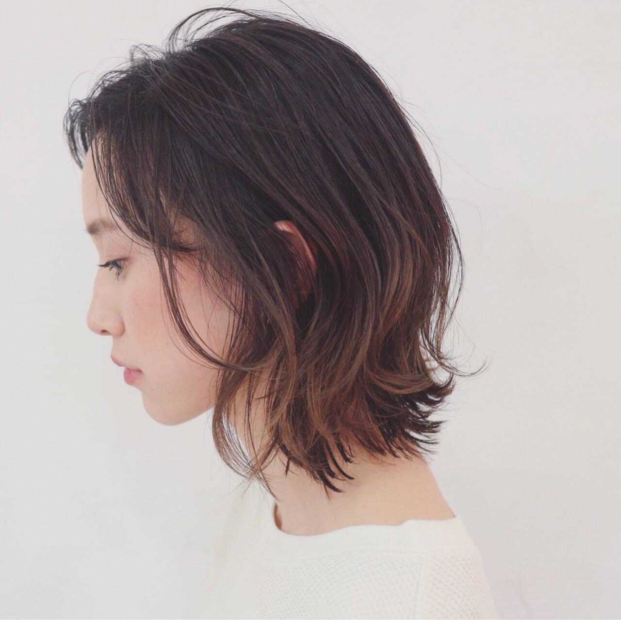 簡単ヘアアレンジ グラデーションカラー ナチュラル ボブヘアスタイルや髪型の写真・画像