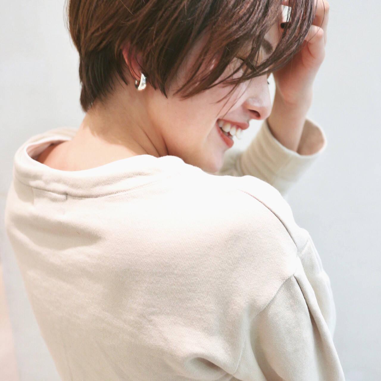 ショートボブ ベリーショート ショートヘア ナチュラルヘアスタイルや髪型の写真・画像