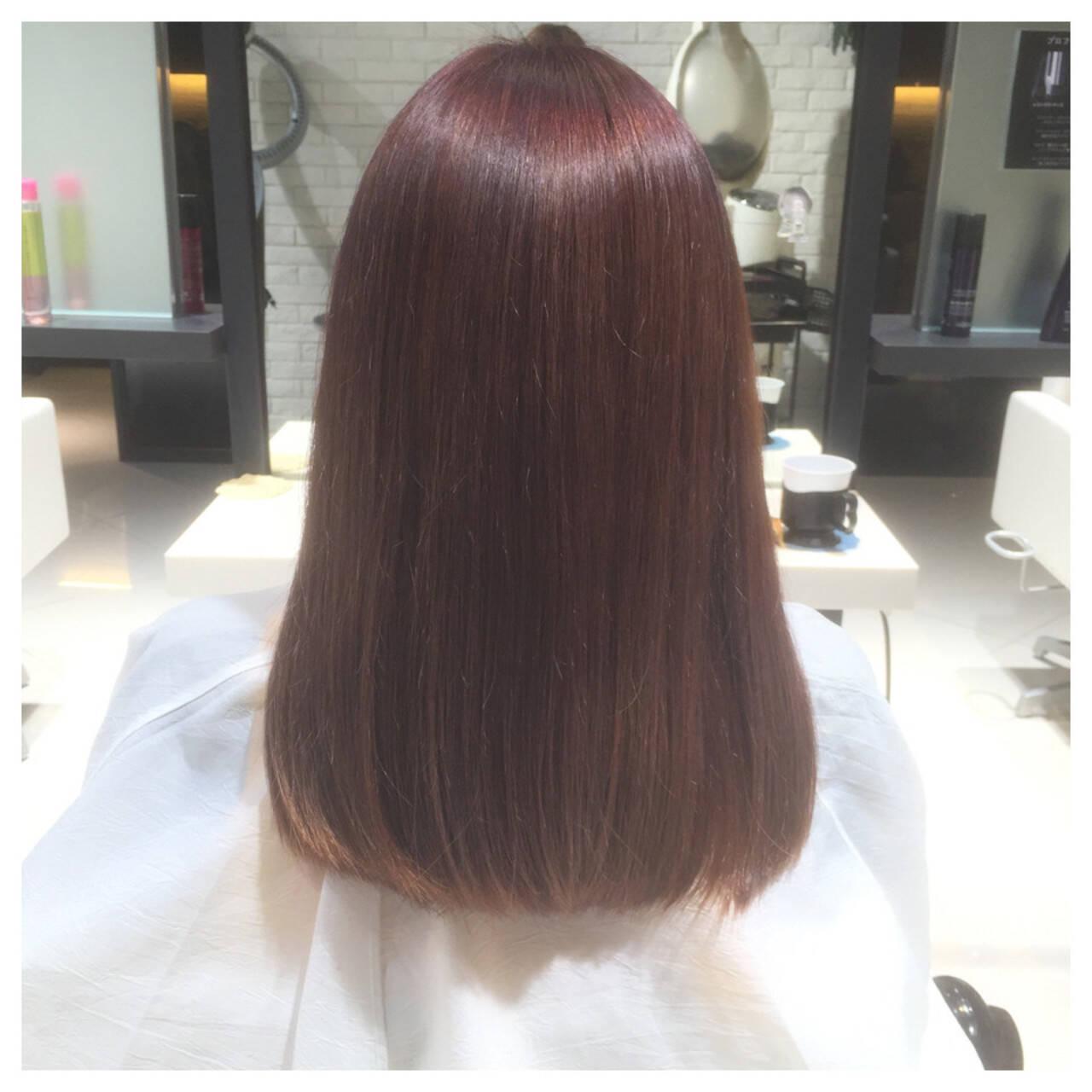 ガーリー ダブルカラー パープル レッドヘアスタイルや髪型の写真・画像
