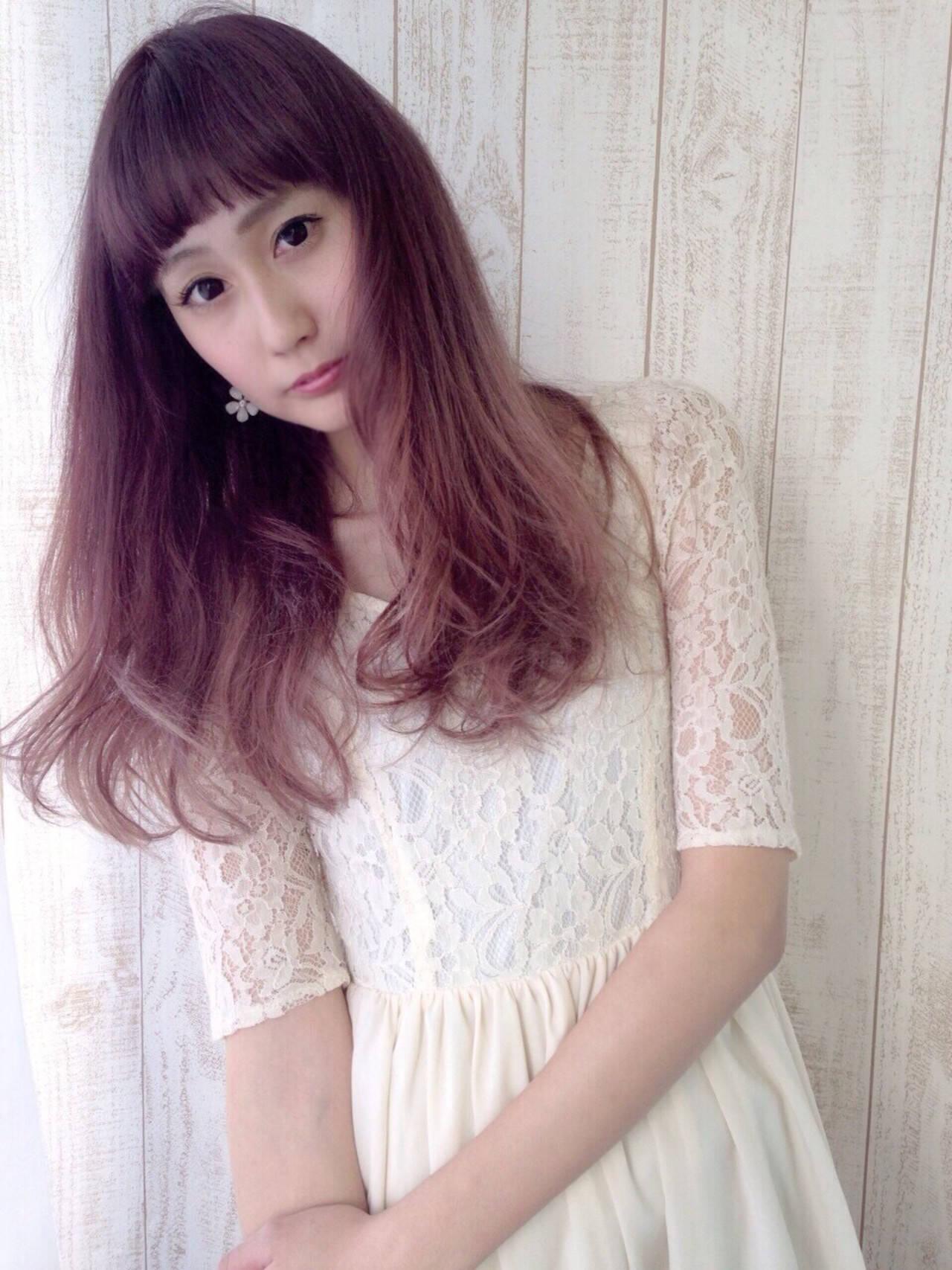 ガーリー ハイライト グラデーションカラー ピンクヘアスタイルや髪型の写真・画像