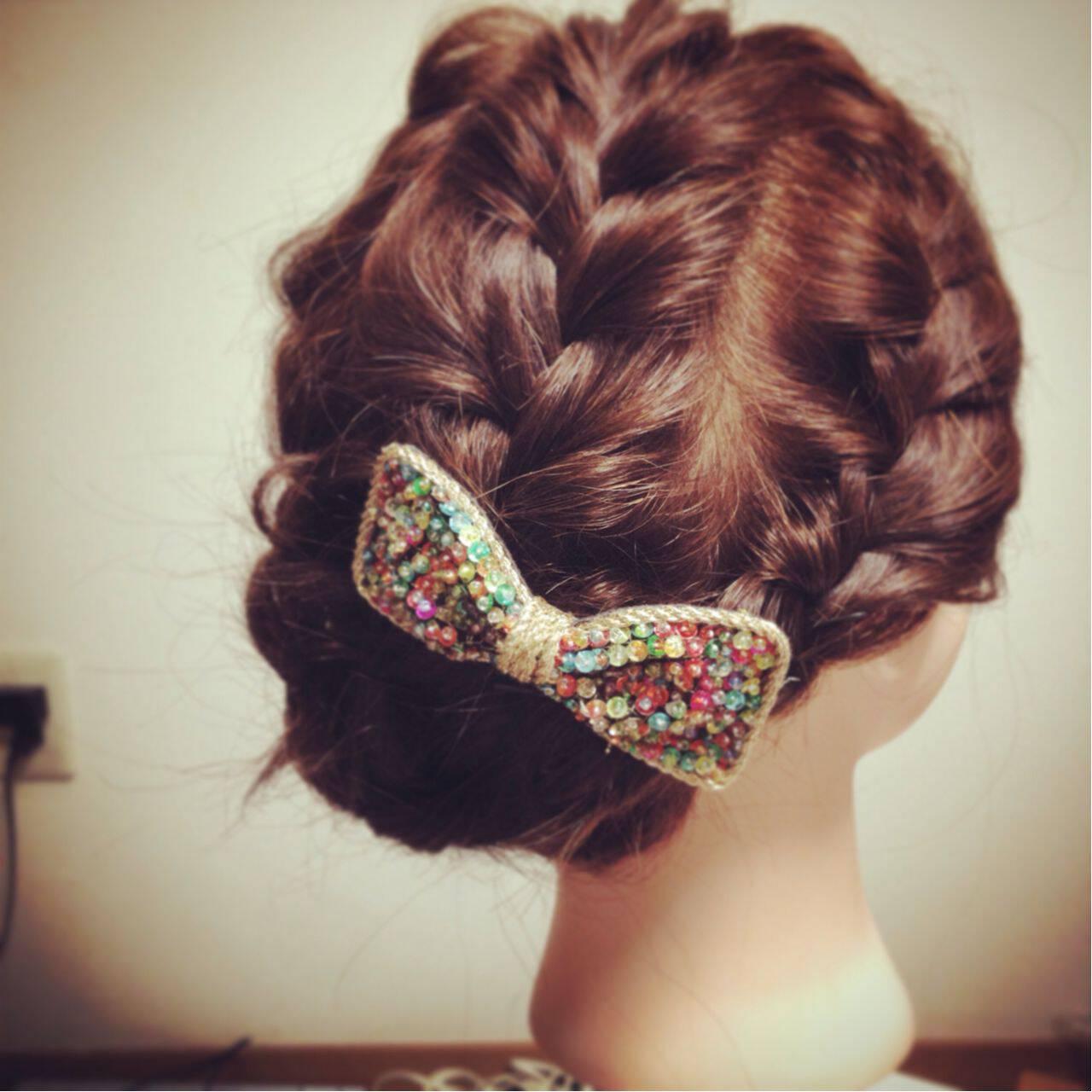 大人かわいい 愛され 編み込み パーティヘアスタイルや髪型の写真・画像