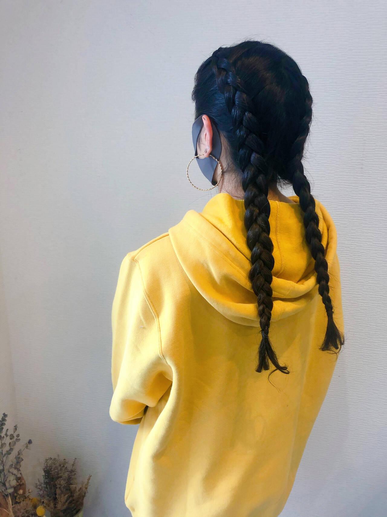 ヘアセット ヘアアレンジ 編み込み ストリートヘアスタイルや髪型の写真・画像
