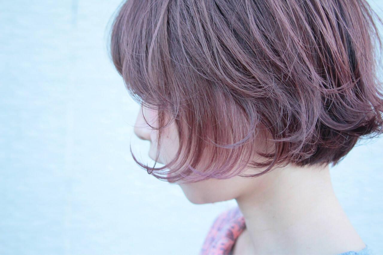 ダブルカラー ショートボブ ピンク ショートヘアスタイルや髪型の写真・画像