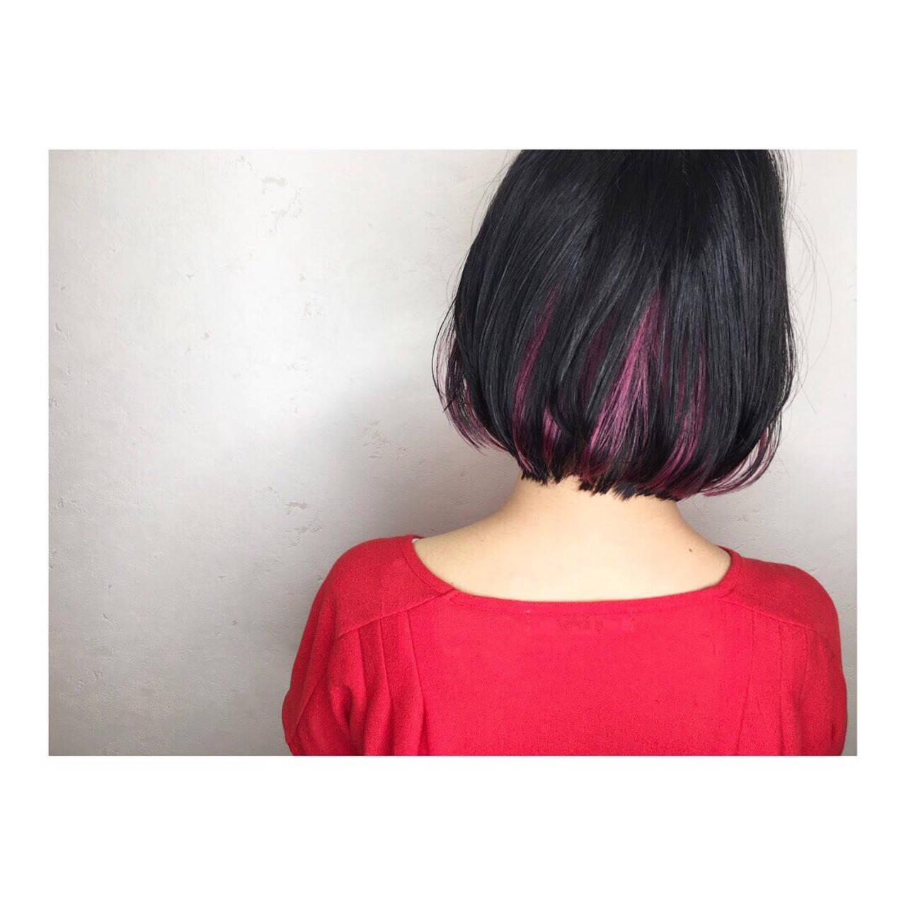 ハイトーンカラー ピンク ボブ ナチュラルヘアスタイルや髪型の写真・画像