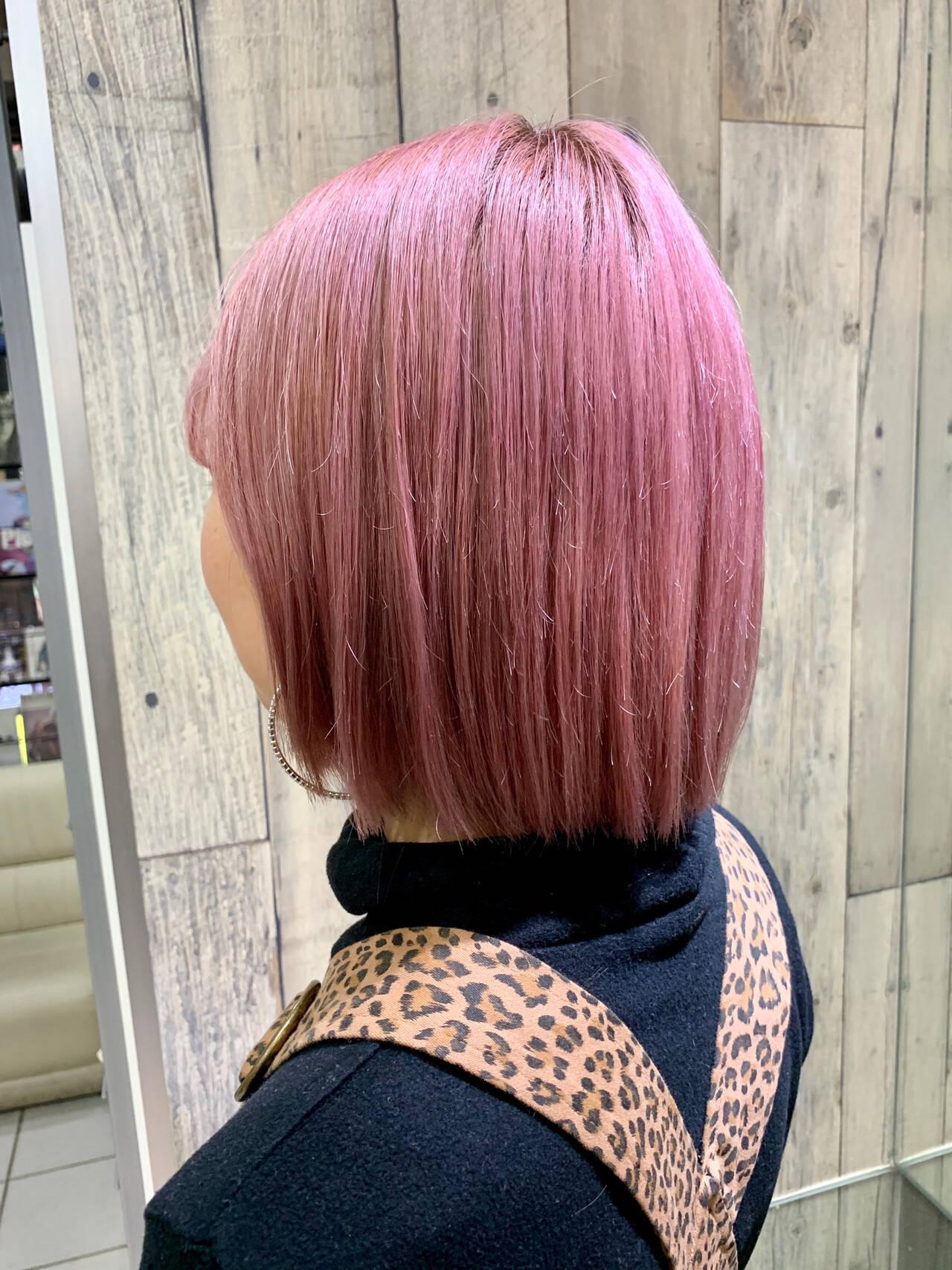 インナーカラー 大人かわいい アンニュイほつれヘア ボブヘアスタイルや髪型の写真・画像