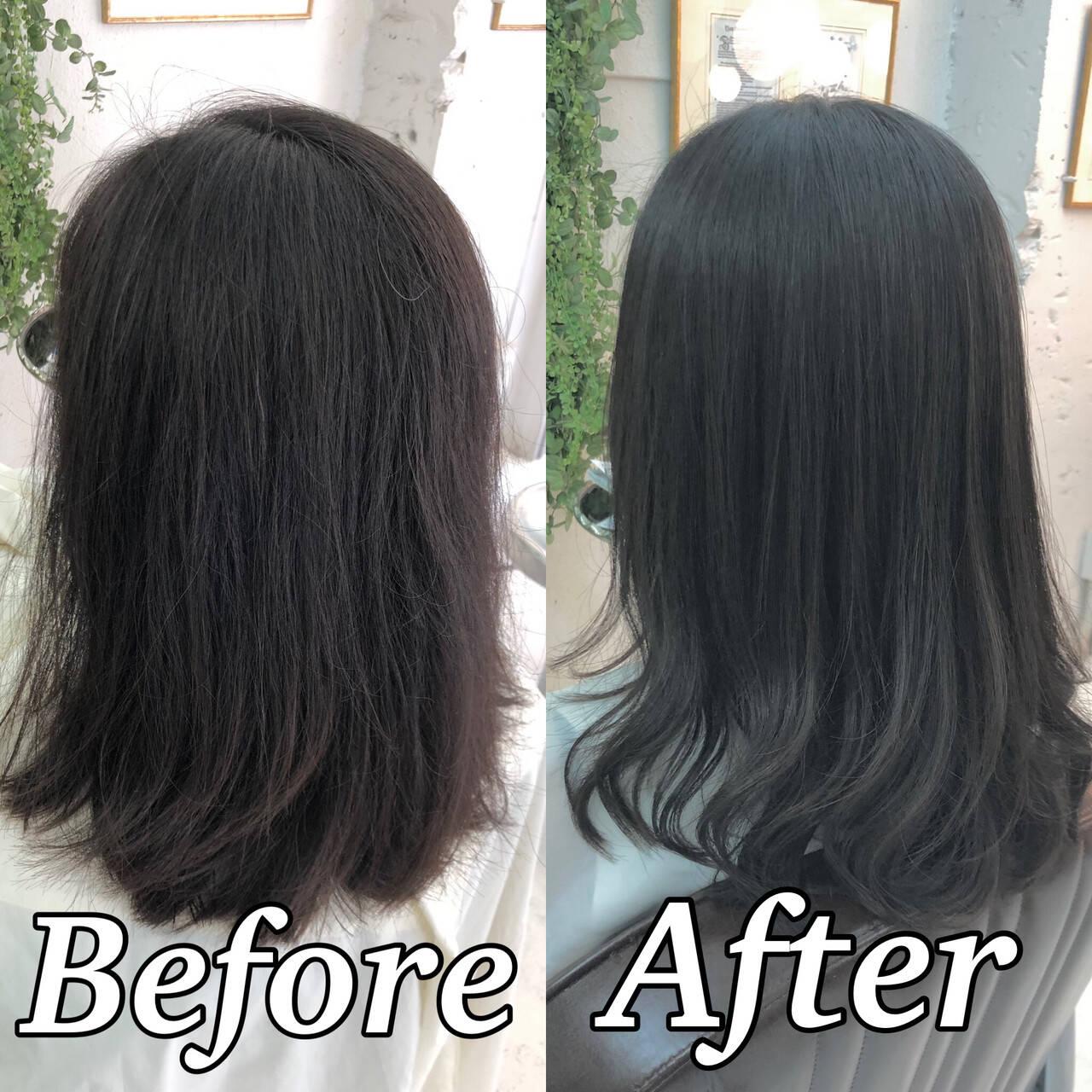 縮毛矯正 髪質改善トリートメント ミディアム 髪質改善ヘアスタイルや髪型の写真・画像